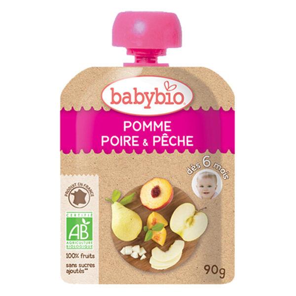 Babybio Mes Fruits Gourde Pomme Poire Pêche +6m Bio 90g