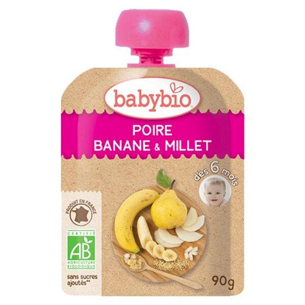 Babybio Mes Fruits Gourde Poire Banane & Millet +6m Bio 90g