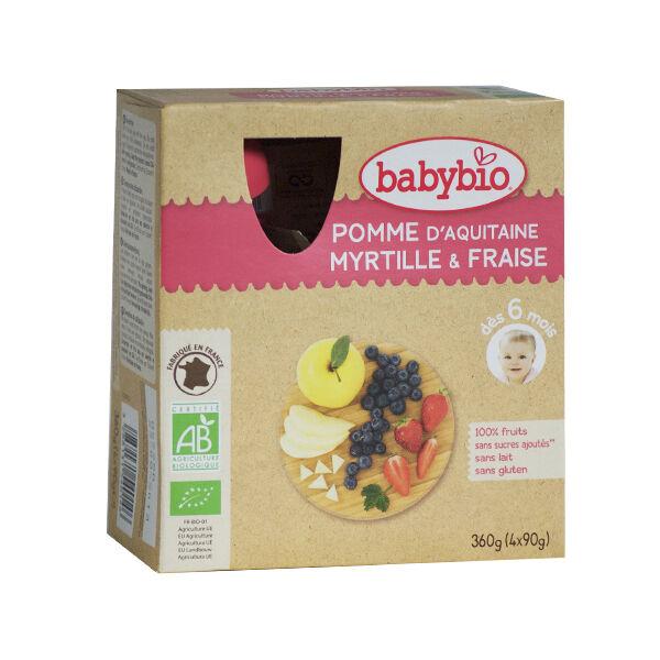 Babybio Mes Fruits Gourdes Pomme Myrtille Fraise dès 6 mois 4 x 90g