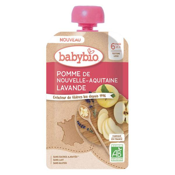 Babybio Douceur de Fruits Gourde Pomme Lavande +6m Bio 120g