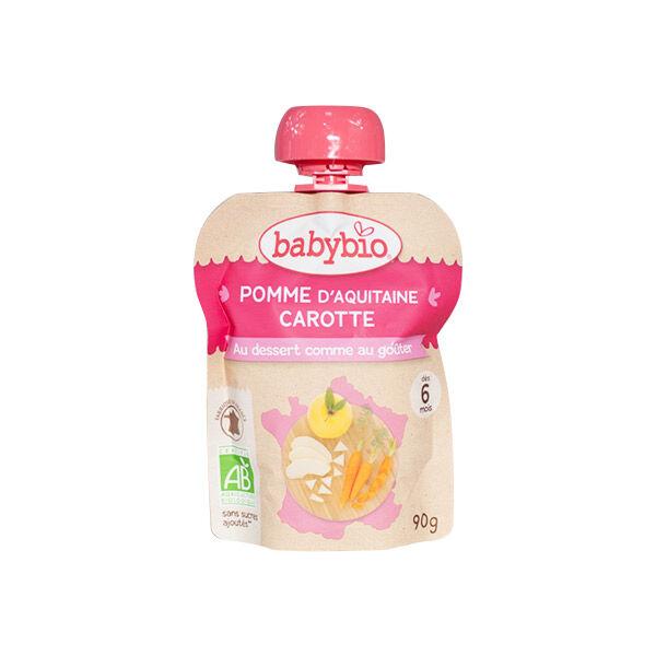 Babybio Mes Fruits avec Légumes Gourde Pomme Carotte +6m Bio 90g