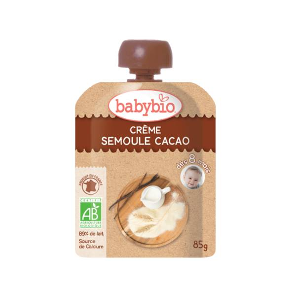 Babybio Desserts Lactés Gourde Crème Semoule Cacao +8m Bio 85g