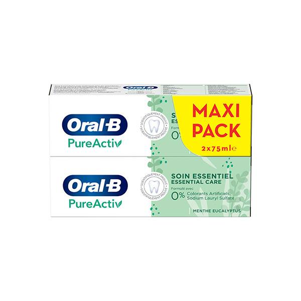Oral B Dentifrice PureActiv Soin Essentiel Lot de 2 x 75ml