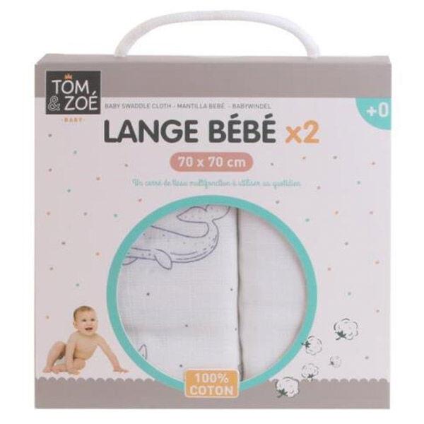 Lysse Baby Tom & Zoé Lange Bébé 70cm x 70cm Blanc et Bleu 2 unités