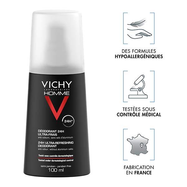 Vichy Homme Déodorant 24h Ultra-Frais Spray 100ml