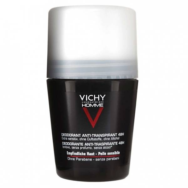 Vichy Homme Déodorant Roll-On Peaux Sensibles 48H 50ml