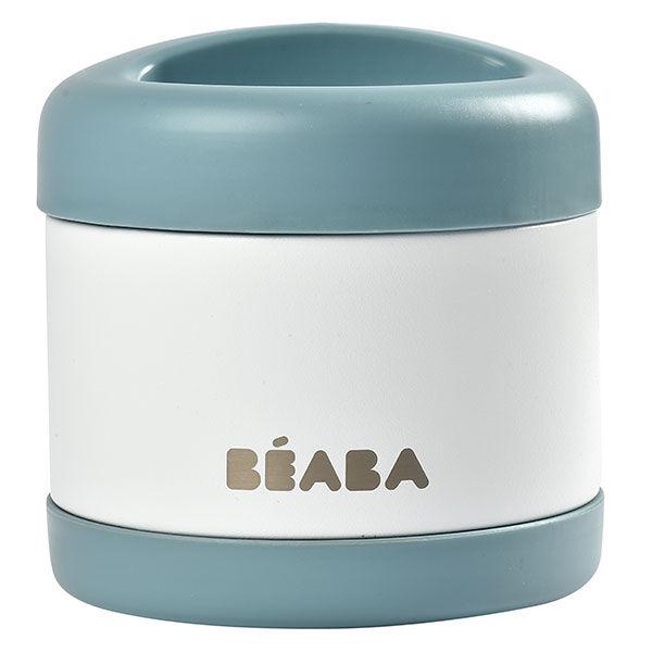 Béaba Portion Pot de Conservation Inox Isotherme Bleu Blanc 500ml