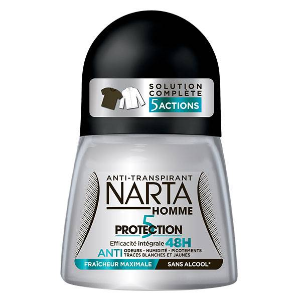 Narta Homme Protection 5 Déodorant Bille Anti-Transpirant 5-en-1 48h 50ml