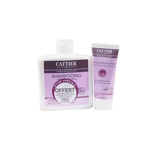 Cattier Shampooing Moelle de Bambou Cheveux Secs 150ml + Masque Réparateur Offert 40ml
