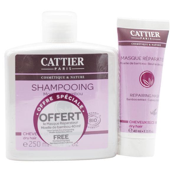 Cattier Shampooing Moelle de Bambou Cheveux Secs 250ml + Masque Réparateur Offert 40ml