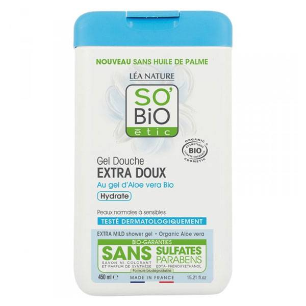 So'Bio Étic Douche Gel Extra Doux à l'Aloe Vera Bio 450ml