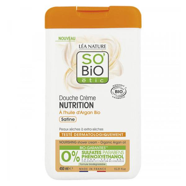 So'Bio Étic Douche Crème Nutrition à l'Huile d'Argan Bio 450ml