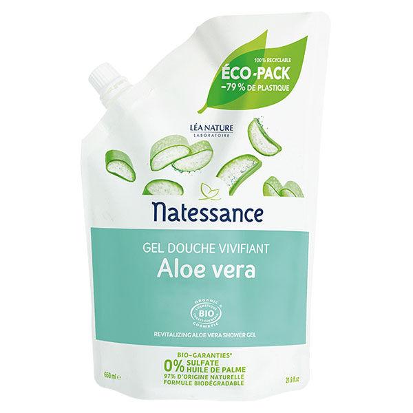 Natessance Gel Douche Vivifiant Aloe Vera Bio Eco Recharge 650ml