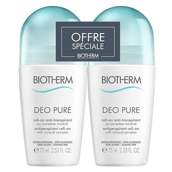 Biotherm Déo Pure Déodorant Roll-On Anti-Transpirant Lot de 2 x 75ml