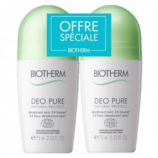 Biotherm Déo Pure Déodorant Natural Protect Roll-On À L'Aloe Vera Bio Lot de 2 x 75ml