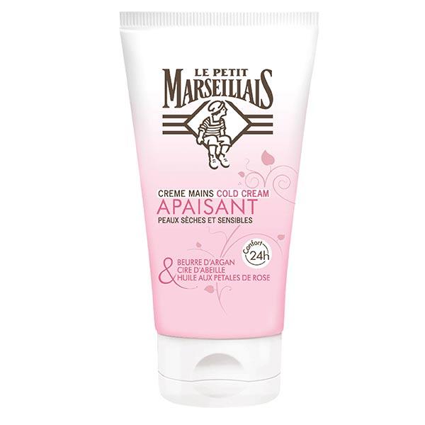 Le Petit Marseillais Crème Mains Cold Cream Apaisant Argan, Cire d'Abeille et Rose 75ml
