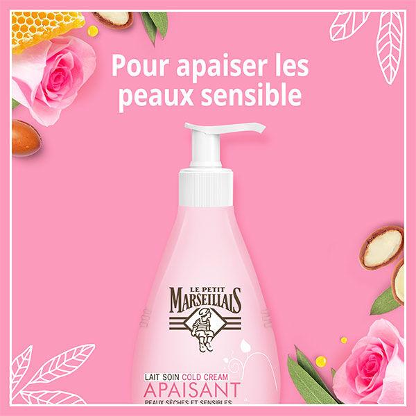 Le Petit Marseillais Lait Soin Cold Cream Apaisant Argan, Cire d'Abeille et Rose 250ml
