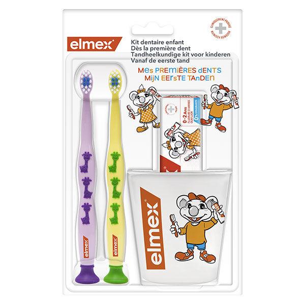 Elmex Kit Dentaire Enfants 2 Brosses à Dents + 1 Dentifrice + 1 Gobelet Offert
