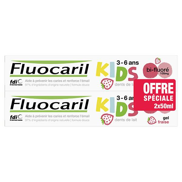Fluocaril Kids 0-6 ans Dentifrice Gel Fraise Lot de 2 x 50ml