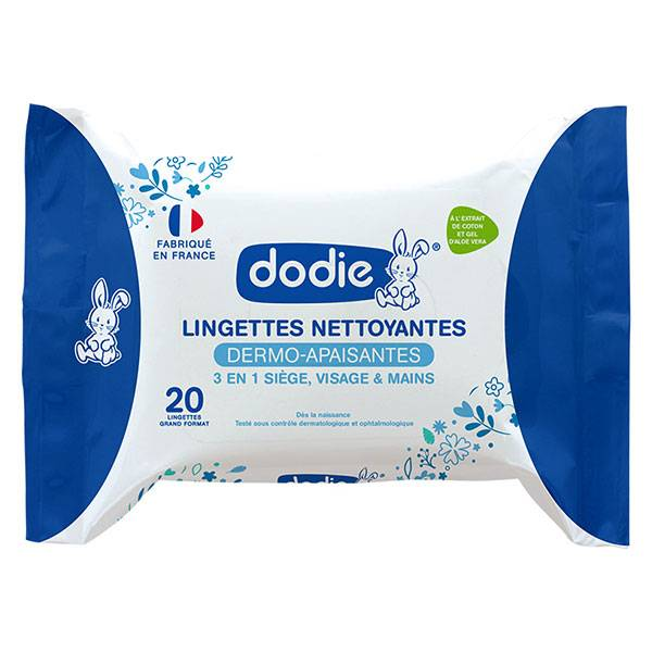 Dodie Hygiène & Soin Lingettes Nettoyantes Dermo-Apaisantes 20 unités