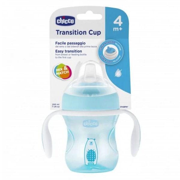 Chicco Tasse Transition Bec Souple Silicone Bleu +4m 200ml 1 unité