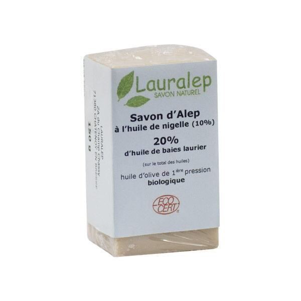 Lauralep Savon d'Alep Bio 20% d'Huile de Laurier et Huile de Nigelle 150g
