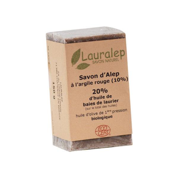 Lauralep Savon d'Alep Bio 20% d'Huile de Laurier et Argile Rouge 150g