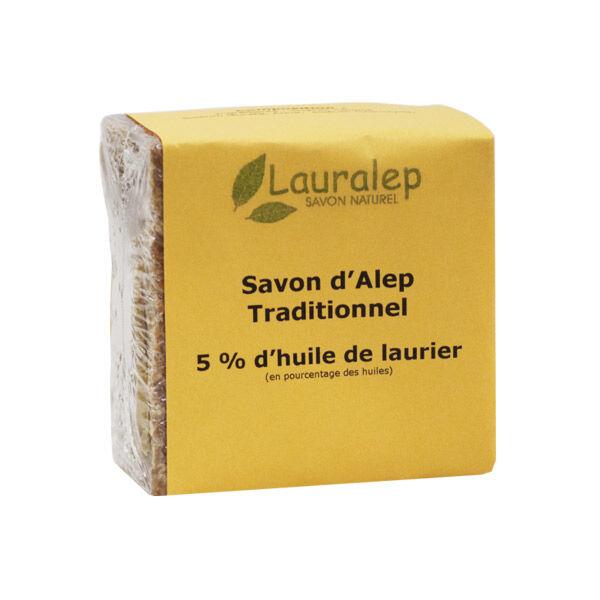 Lauralep Savon d'Alep Traditionnel 5% d'Huile de Laurier 200g