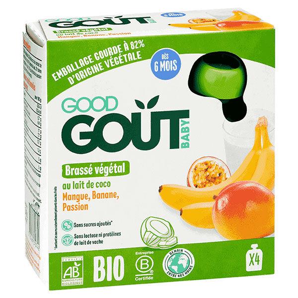 Good Goût Gourde Brassé Végétal à Base de Coco Mangue Banane Passion +6m 4 x 85g
