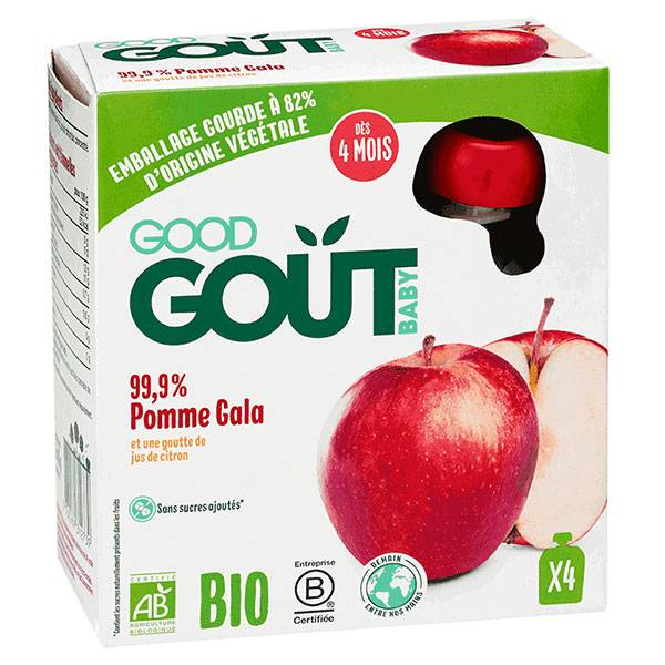 Good Goût Baby Gourde Fruits Pomme Gala Bio +4m Lot de 4 x 85g