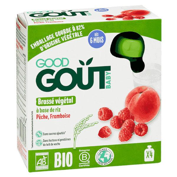 Good Goût Gourde Brassé Végétal à Base de Riz Pêche Framboise +6m Bio 4 x 85g