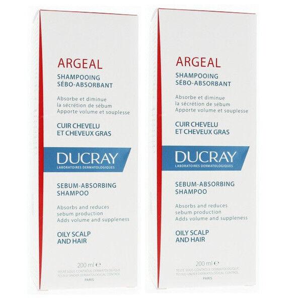 Ducray Argeal Shampooing Sébo-Absorbant Cheveux Gras Lot de 2 x 200ml