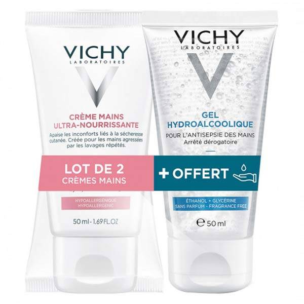Vichy Pack Crème Mains Ultra-Nourrissante Lot de 2 x 50ml + Gel Hydroalcoolique 50ml Offert