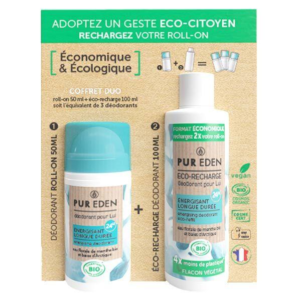 Pur Eden Duo Déodorant Bille Énergisant Pour Lui 50ml + Eco-Recharge 100ml