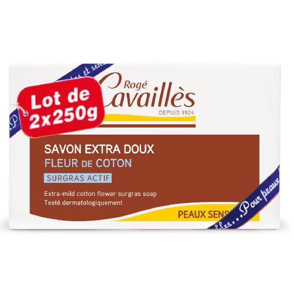 Rogé Cavaillès Savon Surgras Extra Doux Fleur de Coton Lot de 2 x 250g