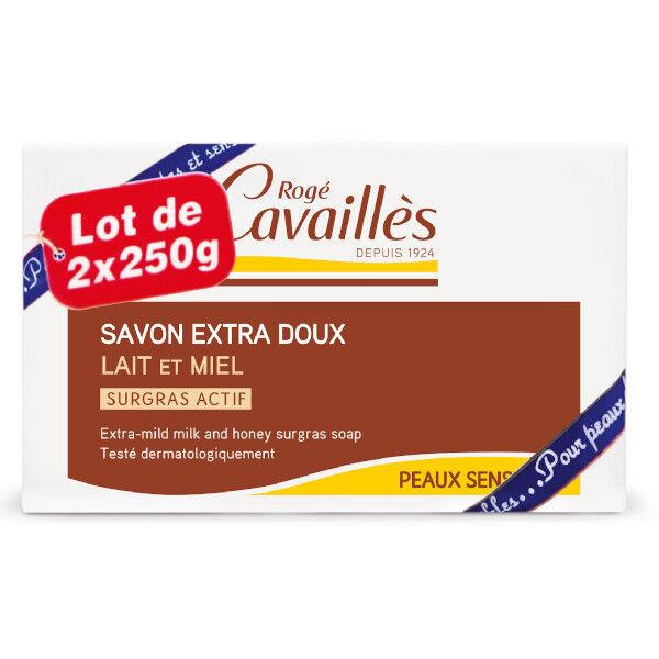 Rogé Cavaillès Savon Surgras Extra Doux Lait et Miel Lot de 2 x 250g