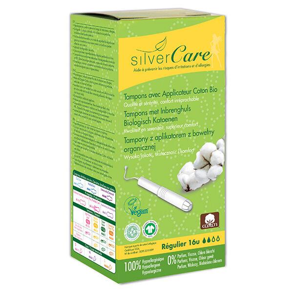 Silvercare Silver Care Tampon en Coton Régulier Bio 16 unités