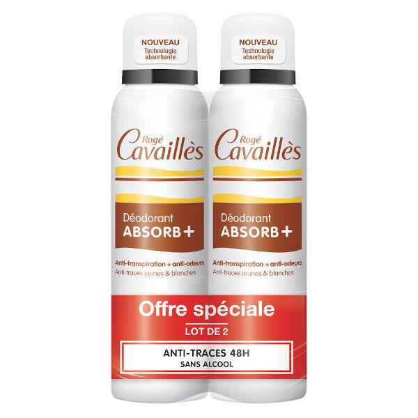Rogé Cavaillès Absorb+ Déodorant Anti-Traces Spray Lot de 2 x 150ml