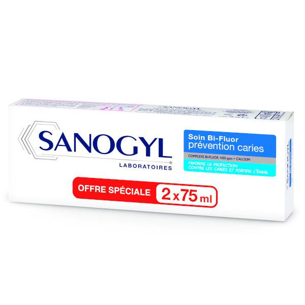 Sanogyl Dentifrice Soin Bi-Fluor Prévention Caries Lot de 2 x 75ml