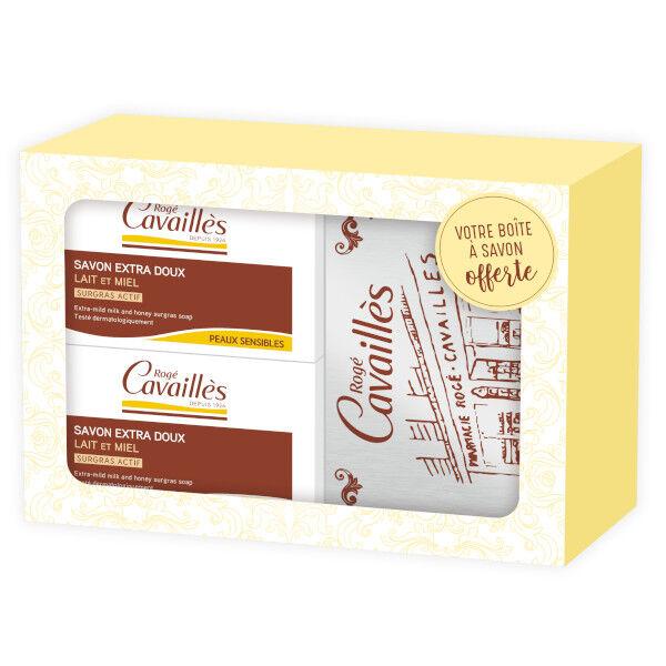 Rogé Cavaillès Savon Surgras Extra Doux Lait et Miel 2 x 250g + Boîte offerte
