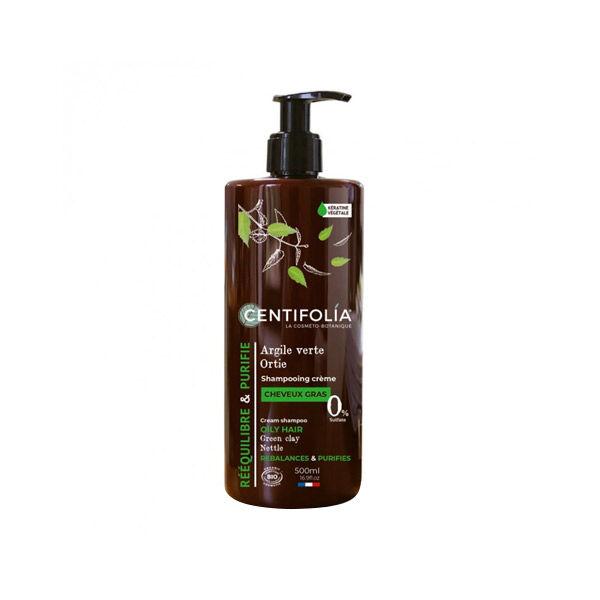 Centifolia Shampooing Crème Cheveux Gras Bio Argile Verte et Ortie 500ml