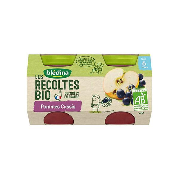 Blédina Les Récoltes Bio Pot Compote Pommes Cassis +6m 2 x 130g
