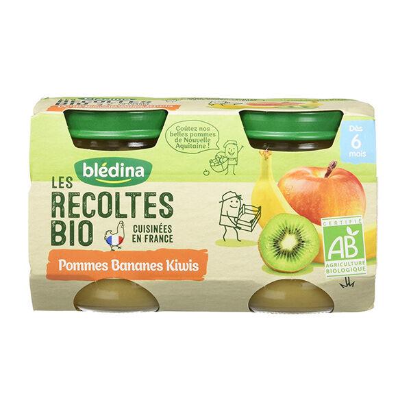 Blédina Récoltes Bio Compote Pommes Bananes Kiwi +6 mois 2 x 130g