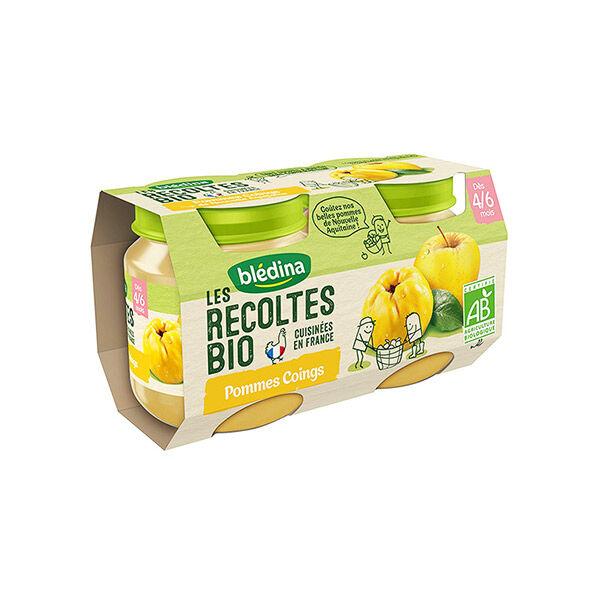 Blédina Les Récoltes Bio Pot Compote Pommes Coings +4m 2 x 130g