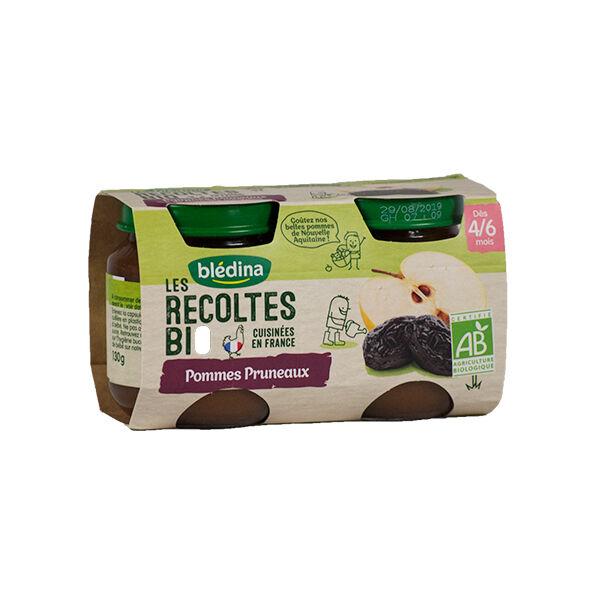 Blédina Récoltes Bio Compote Pommes Pruneaux +4/6 mois 2 x 130g