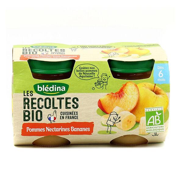 Blédina Récoltes Bio Compote Pommes Nectarines Bananes 2 x 130g