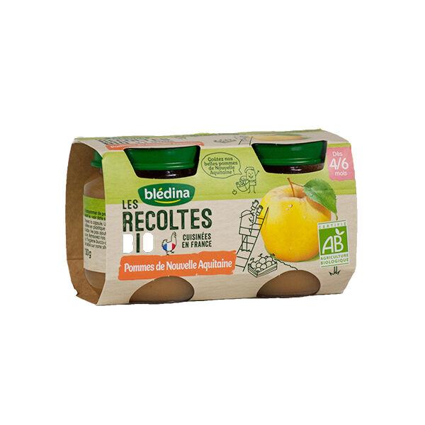 Blédina Les Récoltes Bio Pot Compote Pommes +4m 2 x 130g