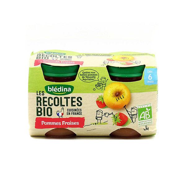 Blédina Les Récoltes Bio Pot Compote Pommes Fraises +4m 2 x 130g