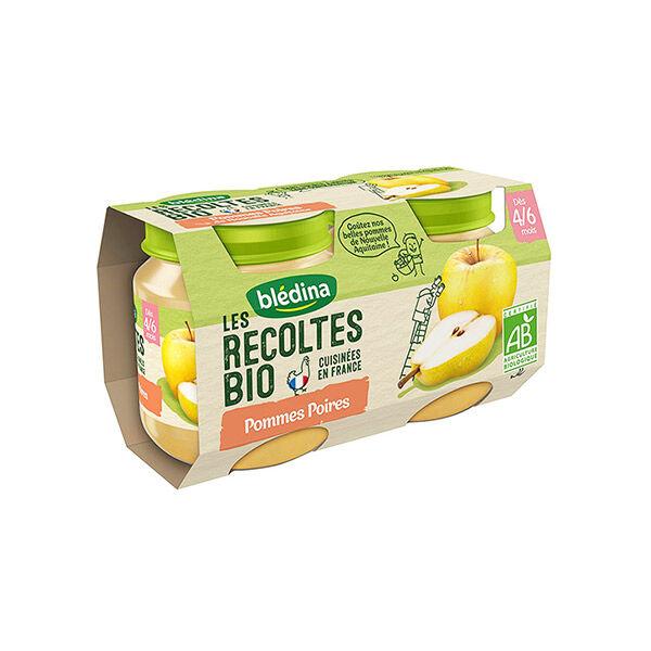 Blédina Les Récoltes Bio Pot Compote Pommes Poires +4m 2 x 130g