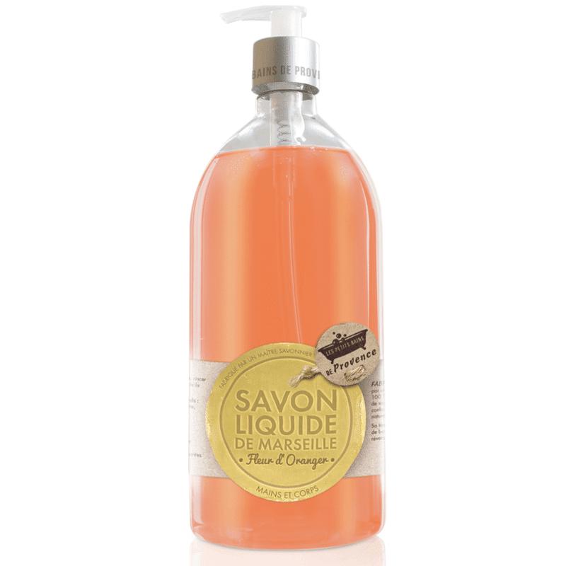 Les Petits Bains de Provence Savon Liquide de Marseille Fleur d'Oranger 1L